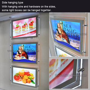 A3 A4 Acrylic 2 Side Cable Wire Hanging Slim Picture Frame Light Box