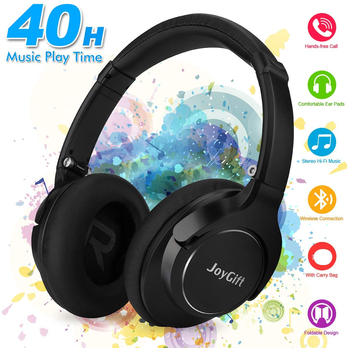 Bluetooth Headphones,Wireless Headphones Over Ear Headphones,HiFi Stereo Bluetooth Headset with Microphone/Wired Mode,Foldable,Soft Memory-Protein Earpads,40-Hour Play Time for PC/Cell Phones Black