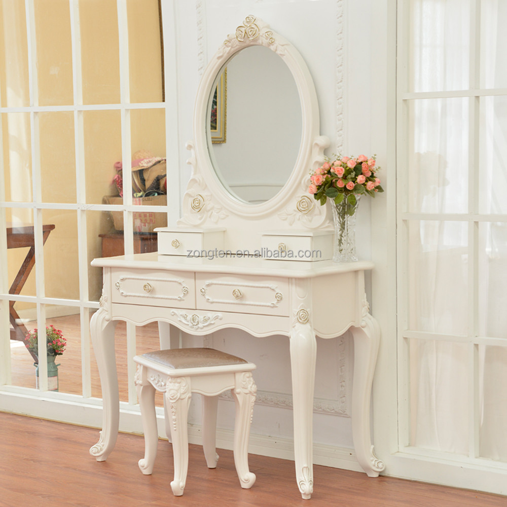 D1701 Luxury Clic Modern Bedroom Vanity Table Writing Desk Wooden Dressing With Mirror And Stool Dresser
