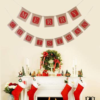 wedding banner design jute lace hessian burlap bunting banner for christmas - Burlap Christmas Banner