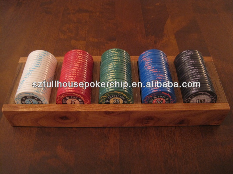 300pc houten poker chip set