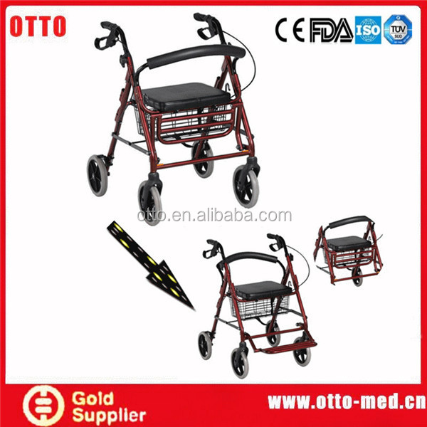 Aluminum rollator walker with seat and footrest
