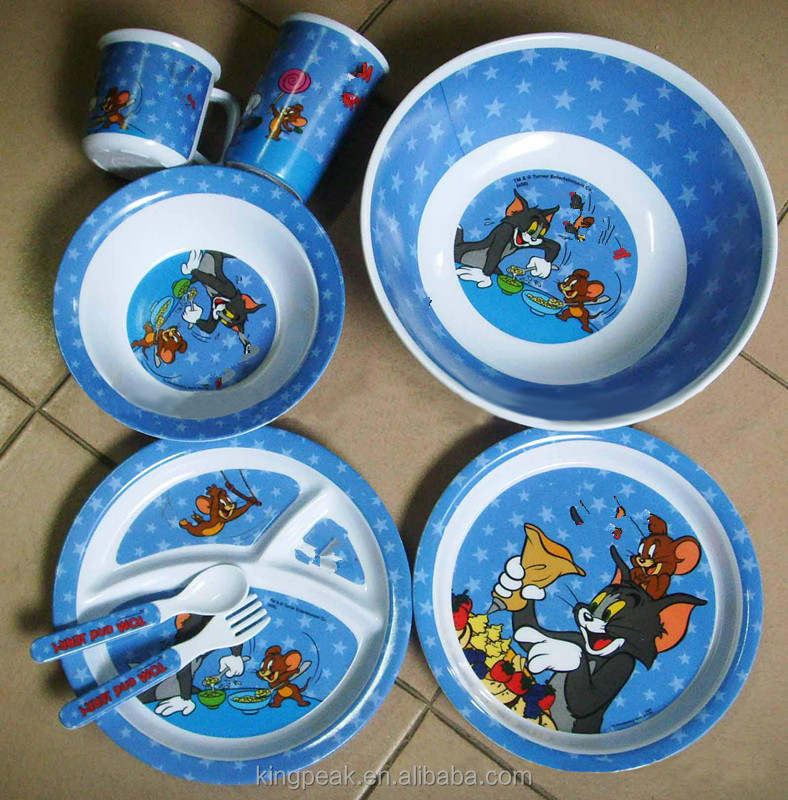 2016 Best Selling Kids Cute Melamine Plate Set/children Melamine Dinnerware /kids Melamine Serving Tray Bowls Spoon And Fork Set - Buy Baby And Childrens ... & 2016 Best Selling Kids Cute Melamine Plate Set/children Melamine ...