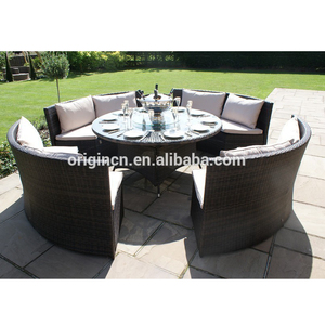 Chinese company garden treasures rattan dining furniture patio round sofa lounge