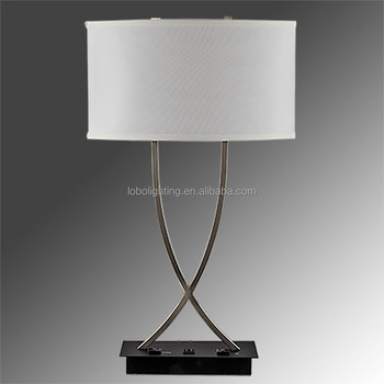 "28.25""H Brushed Nickel/Matte Black Table Lamp with 2-convenience outlets and 2- on/off rocker base switches"