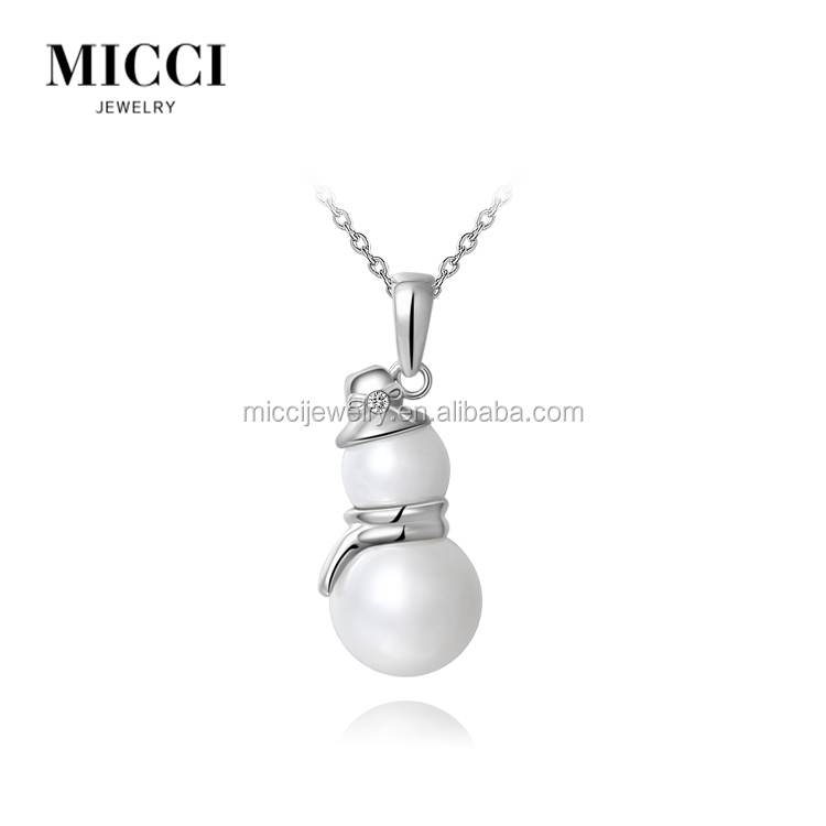 Latest Christmas snowman charm beads pendant design , novelty crystal inlay pearl jewelry necklace delicate christmas gift