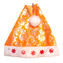 2017 Fashion christmas decor gold foil orange musical santa hat