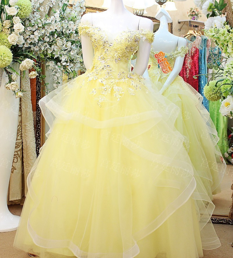 Colored Ladies Off Shoulder Floor Length Custom Made Formal Bridal Gowns Design HS326 yellow wedding dress