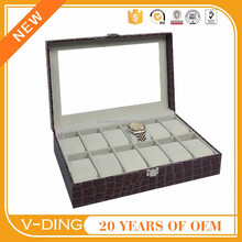 vding from china supplier new premium products 12 skylights quality crocodile pattern leather metal buckle custom watch box