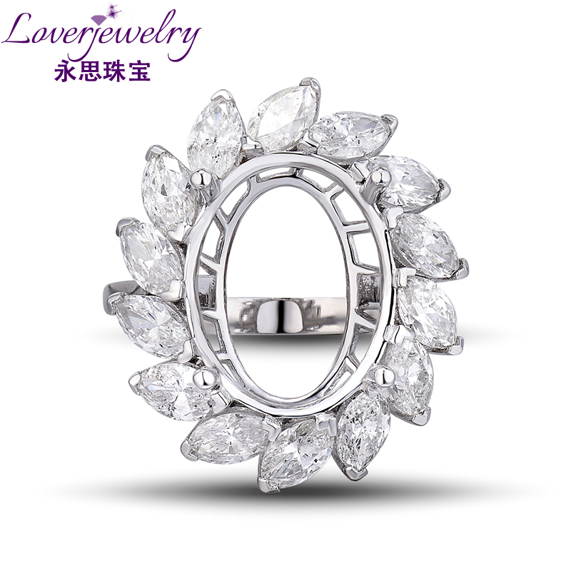 Oval 11x14mm In Solid 18Kt White Gold Diamond Marquise Engagement Rings, Semi Mount Ring Settings Genuine Gold Jewelry WU0168