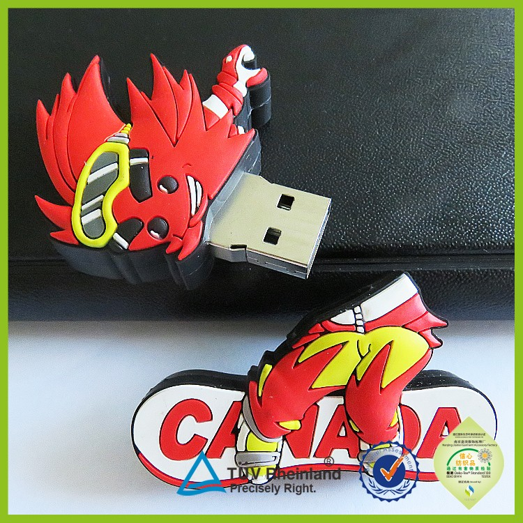 Cheap OEM silicone rubber cartoon character shape pvc usb flash drive