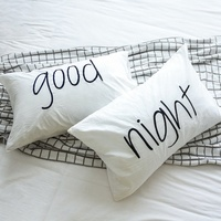 Monad 100% Cotton Hand Made White and Black Good Night Embroidered One Set Sleeping Pillow