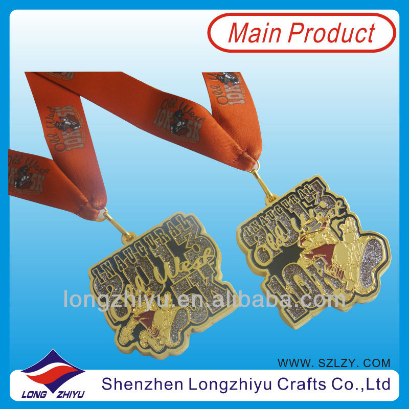 2013 America gold marathon medal sport with coffee ribbon 5k 10k marathon running medallion with glitter