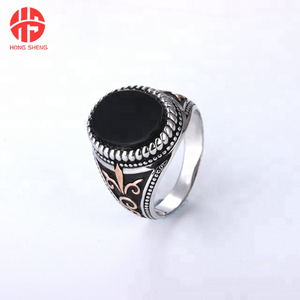 Hot Selling Vintage Turkish Rings for Men Wholesale Fashionable Big Stone 925 Silver Male Ring For Muslim