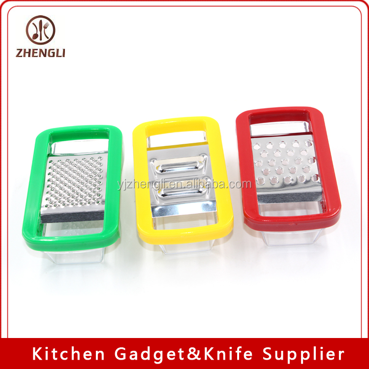 177 Professional cheese box grater with catch food container base and 3 interchangeable stainless steel blades