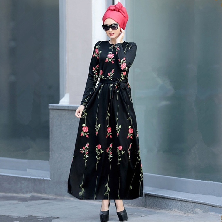 Fancy Popular Design Sexy Islamic Clothing Black Printed Lacing Dresses Are Popular Dress Muslim Hijab