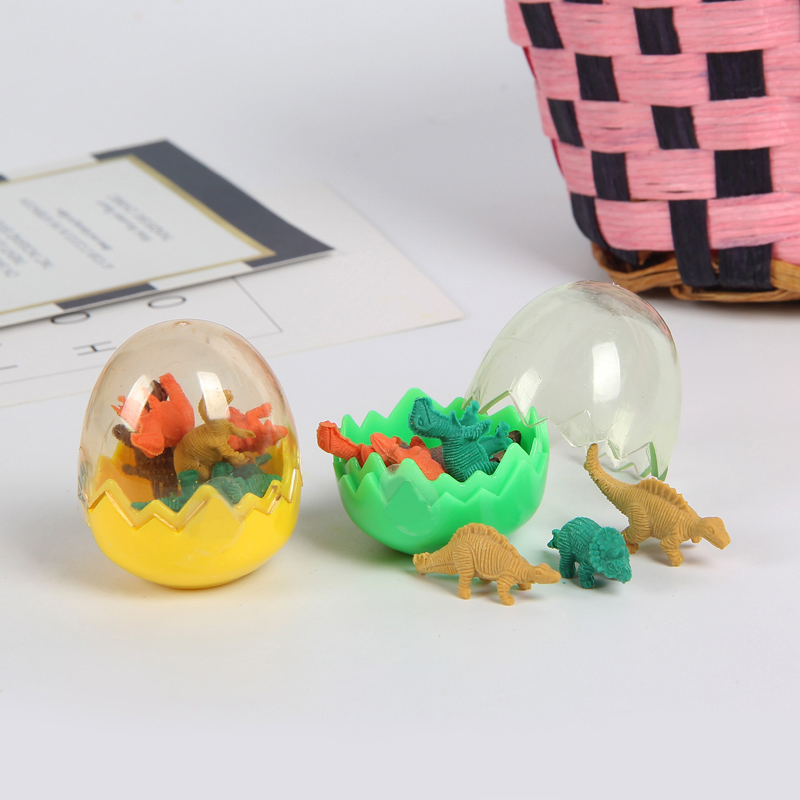Cute mini dinosaur shape eraser in plastic egg