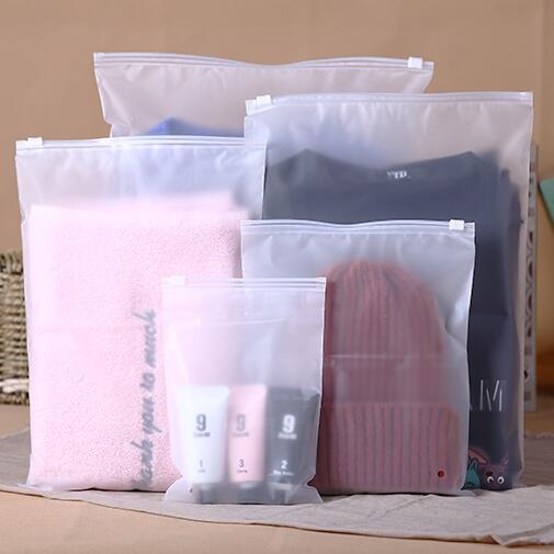 חלבית PE שקית אריזת בגדי אחסון מחוון רוכסן תיק