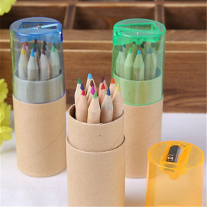 wooden mini 6 colour pencil with sharpener