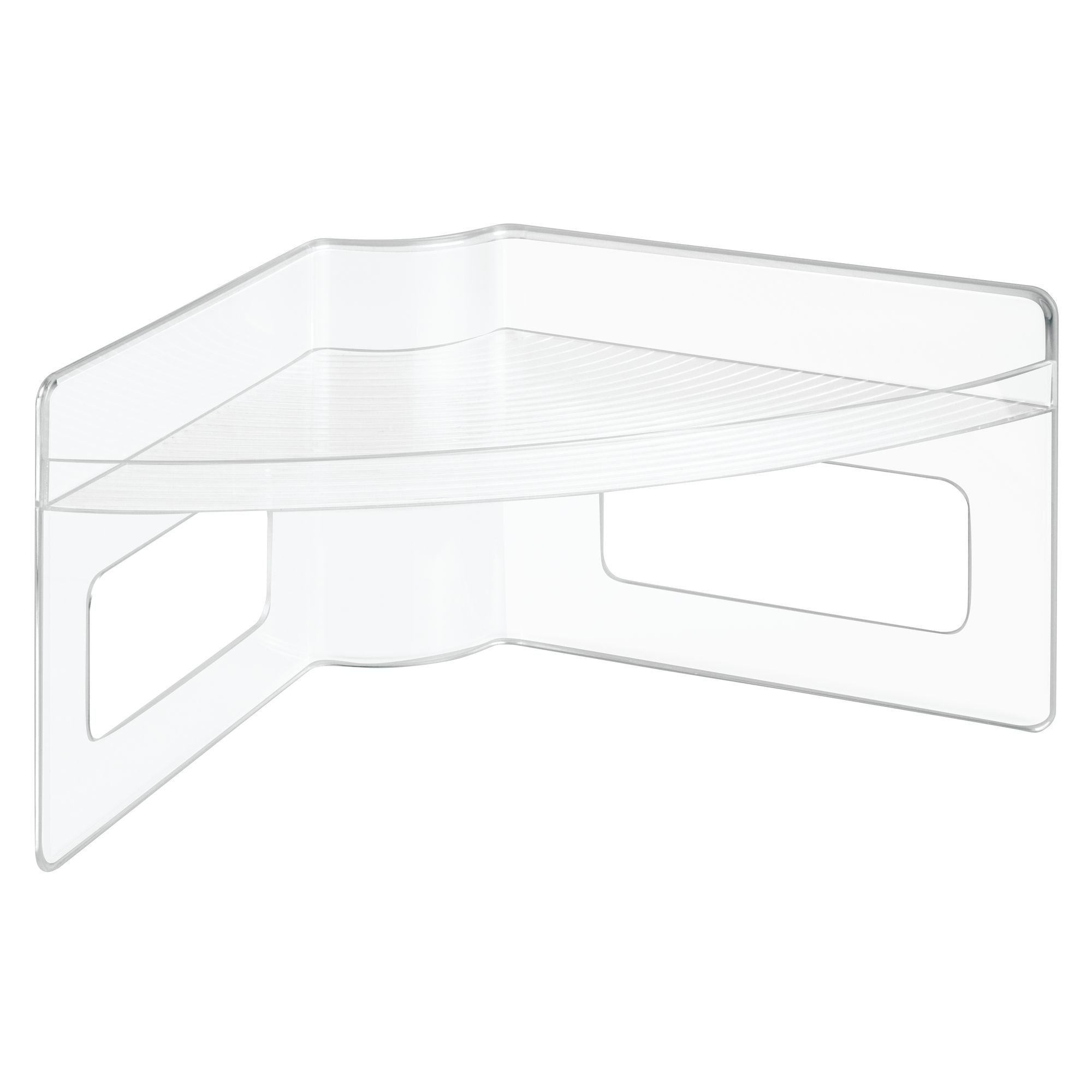 InterDesign 62650M4 Lazy Susan Plastic Storage Shelf with Handles for Organizing Kitchen Pantry Cabinets, Corner Spaces - Clear, Set of 4