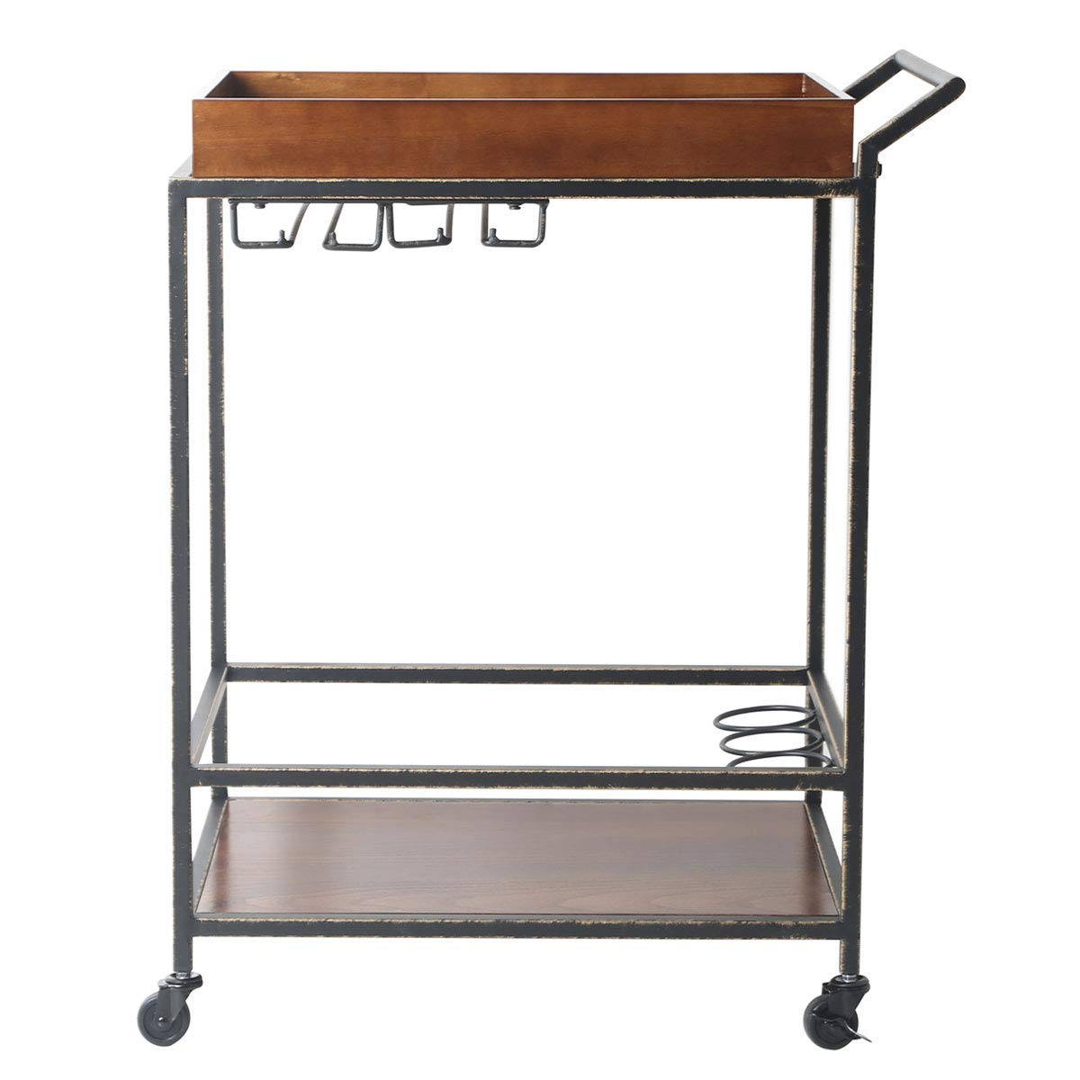 2 Tier Kitchen Bar Serving Cart - Rolling Utility Storage Bar Cart with Bottle Holder, Solid Wood, Brown