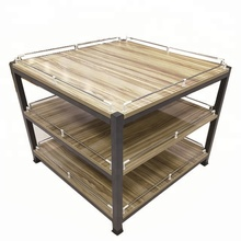 Steel and wood combined shelf stationery display rack for supermarket or store