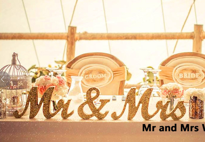 Mr And Mrs Large Wooden Letters: Aliexpress.com : Buy 3pcs/set Bling Bling Gold MR & MRS