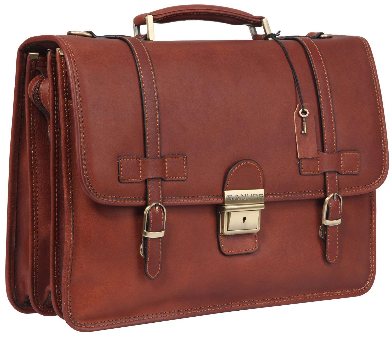 21f3d517176f Get Quotations · Banuce Vintage Leather Tote Briefcase Messenger Bag 14  inch Laptop Bag Attache Case