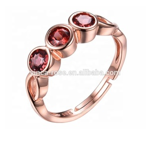 natural garnet jewelry blank bezel setting three stone ring