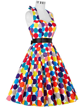 Summer style Women Dress Clothing Grace colorful Polka Dot Vintage 1950s Rockabilly Swing Pinup tea women dress