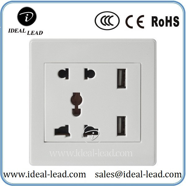 5V 2.1A Universal 5 points Wall Socket with USB Port and switch