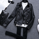 SP2617A Women Sim Fit Motorcycle Jacket Ladies Faux Leather Jacket black