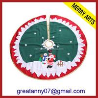 yiwu wholesale market high quality red and green quilted christmas tree skirts