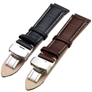 stainless steel men business leather 28mm watch strap belt