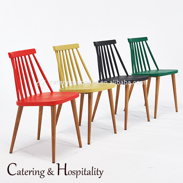 resturant cafe no folded Replica windsor plastic metal dining chairs With Wood Like Metal Legs