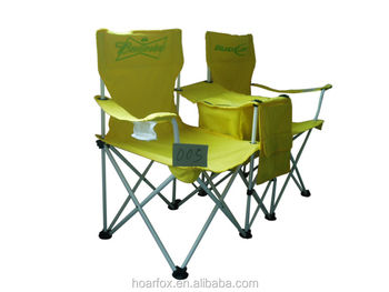 Heavy Duty Foldable Double Beach Chair With Cup Holders And Cooler Bag