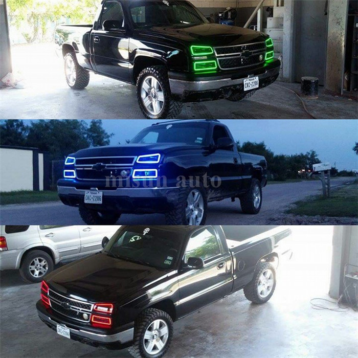 Rgb1998 2004 Gmc Sierra Denali 2001 2006 Colorshift Halo Lights With Purple Ring