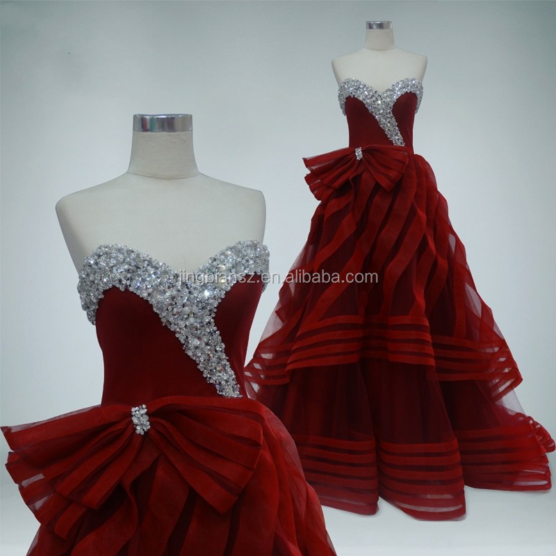 Real Sample Gorgeous Beaded Wine Color Evening Gown Oe203 Buy