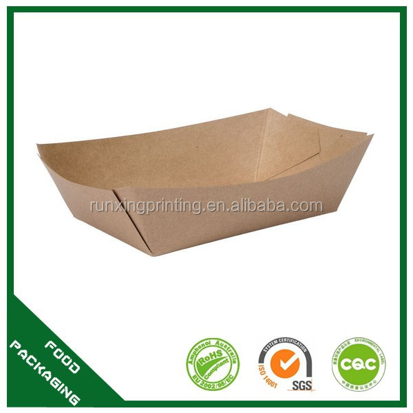 Custom size logo design paper food board tray, kraft paper food container