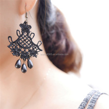 RareLove Black Lace with Beads Chandelier Dangle Earrings For Women