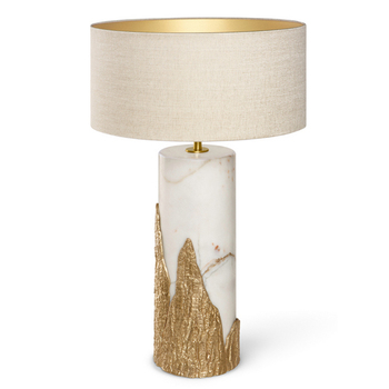 2019 American modern Simple copper marble base LED bed side Table Lamp fabric lamp shade for Living Room bedroom