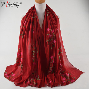 P-healthy luxury design muslim big solid viscose embroider flower scarves pashmina wraps