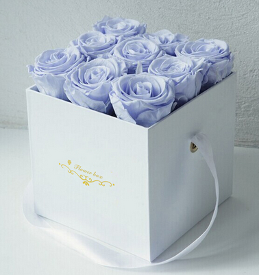 Custom high quality paperboard Recyclable Rigid paper big Square Rose Flower packaging gift Box with ribbon handle