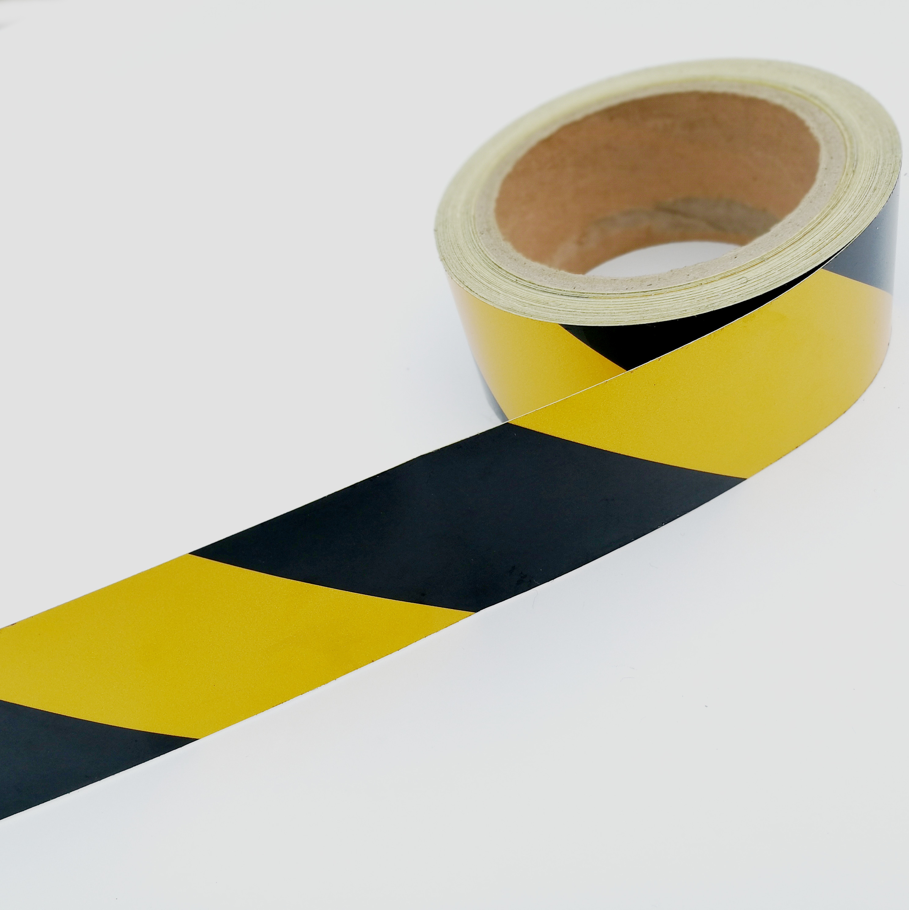 Trustful 5cm*45m Gold Yellow Adhesive Reflective Warning Tape For Road Traffic Construction Site Roadway Safety