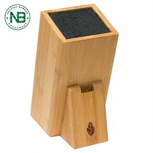 With removable and dishwasher Inner nylon core Bamboo Storage Knife Block