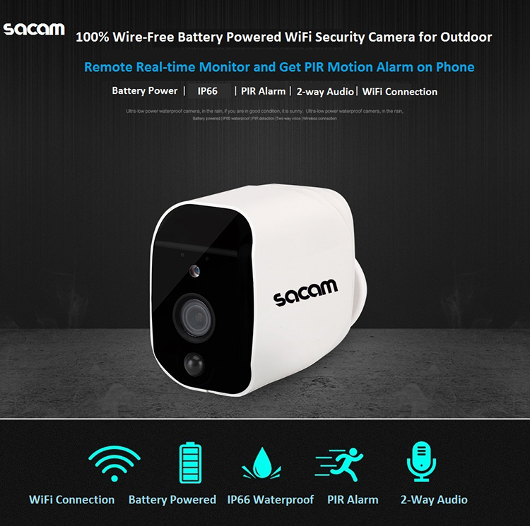 TF card slot night vision 1080p HD outdoor WiFi wireless battery powered security camera