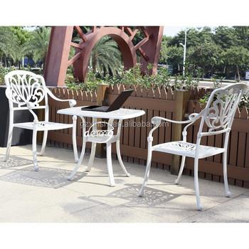 европейский стиль литой алюминиевый патио журнальный столик и стулья белый открытый металлическая мебель Buy открытый кофейный наборантичный