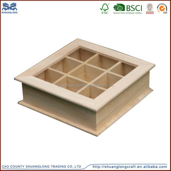 Unfinished Wooden Compartment Gift Box With Glass LidWooden Jewelry
