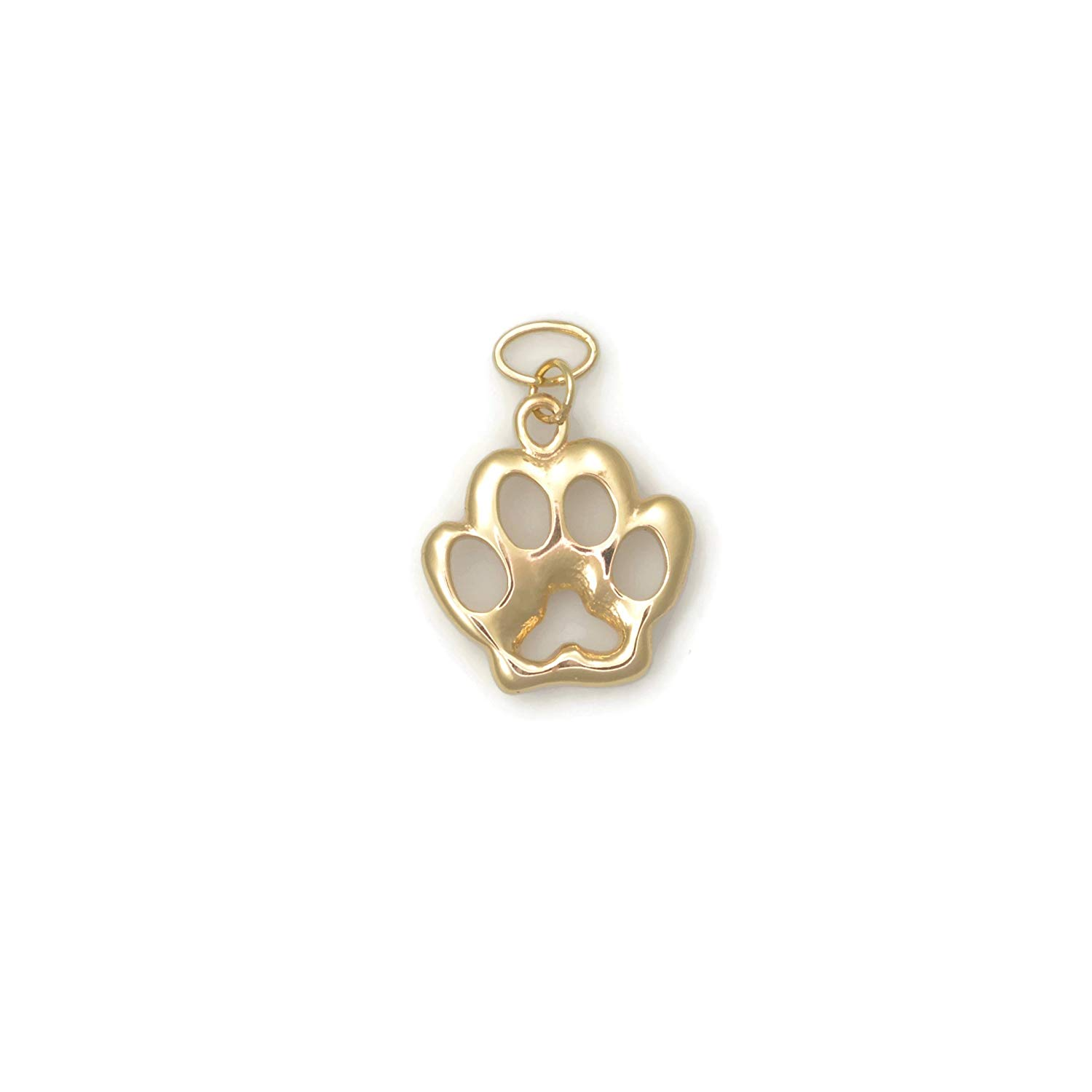 8mm Open Dog Paw Charm in 18k Yellow Gold
