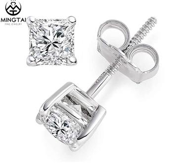 Princess Brilliant Cut Diamond Cz Stud Earrings Backs Wedding 14k White Gold